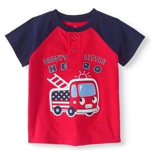 NWT Henley Short Sleeve Firetruck Top Shirt 6-9mo
